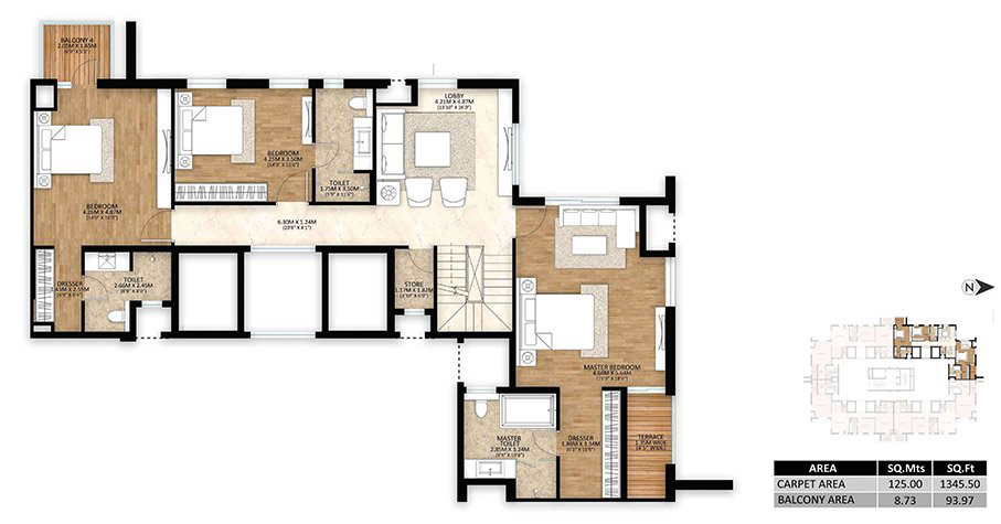 tower-a-4BHK-penthouse-upper-unit-plan