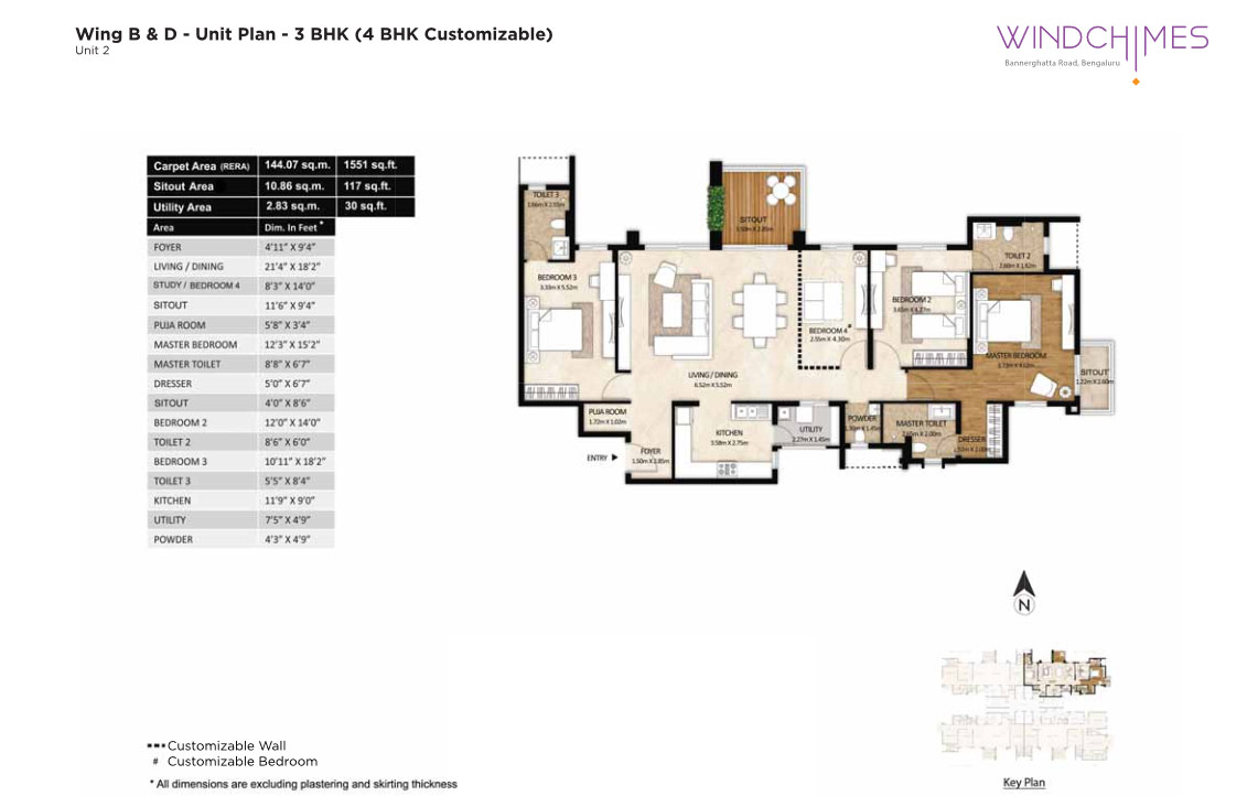 Wing B & D 3BHK Unit 2