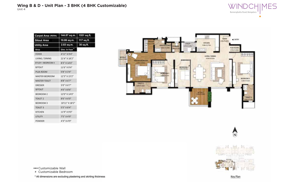 Wing B & D 4BHK Unit 4
