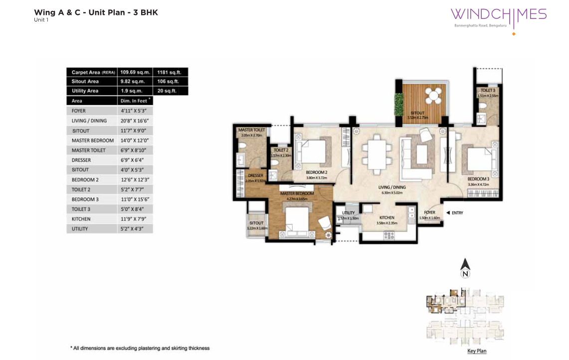 Wing A & C 3BHK Unit 1