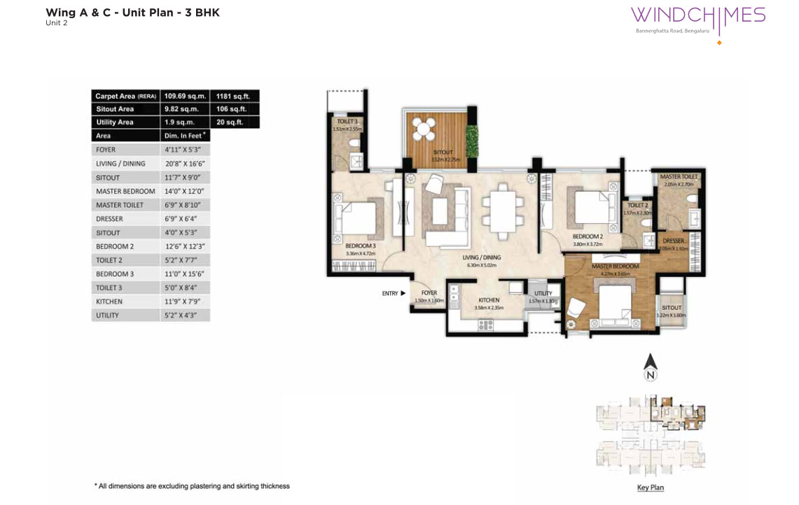 Wing A & C 3BHK Unit 2