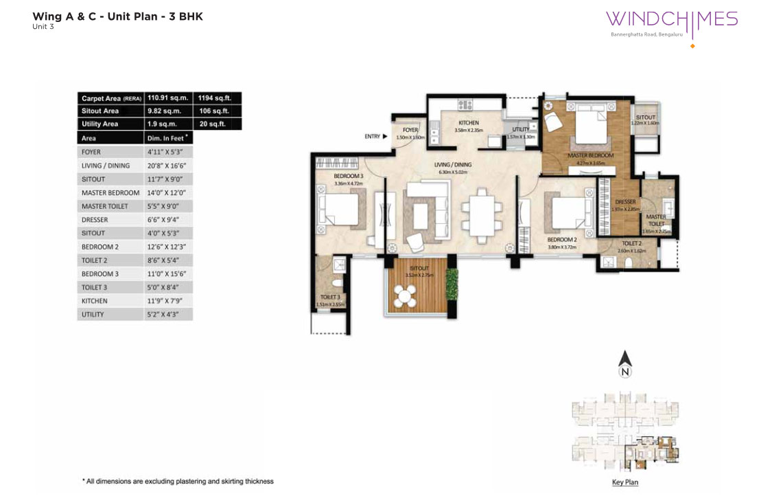 Wing A & C 3BHK Unit 3