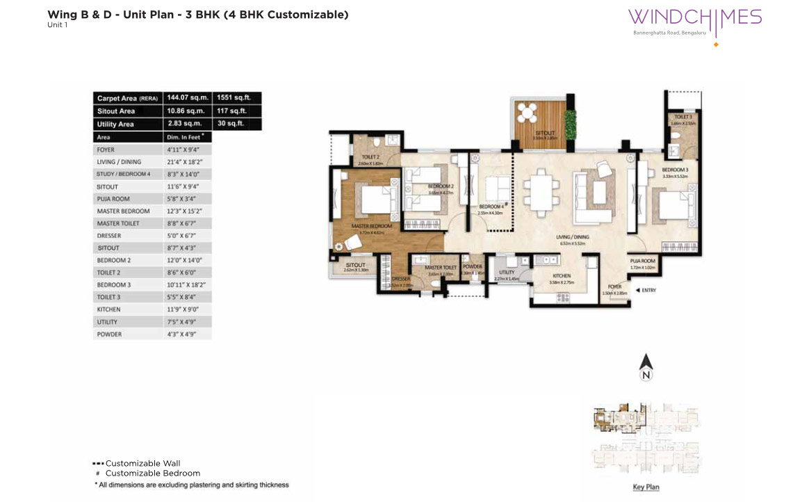 Wing B & D 3BHK Unit 1